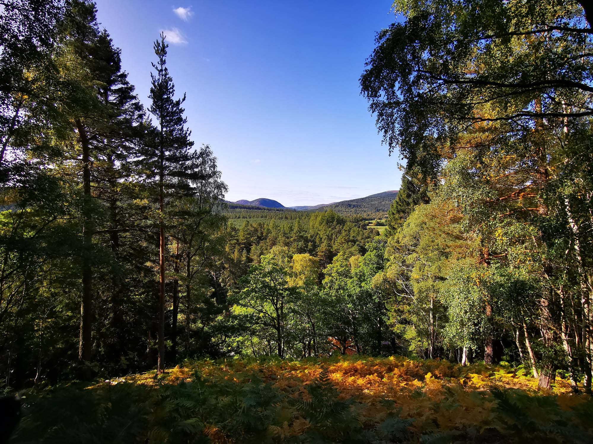 Walking in Ballater with a clear sky